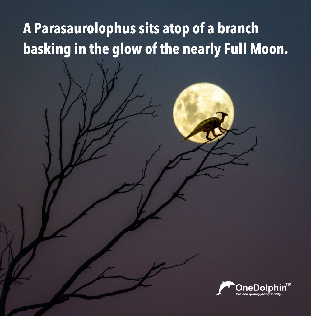 A Parasaurolophus sits atop of a branch basking in the glow of the nearly Full Moon.