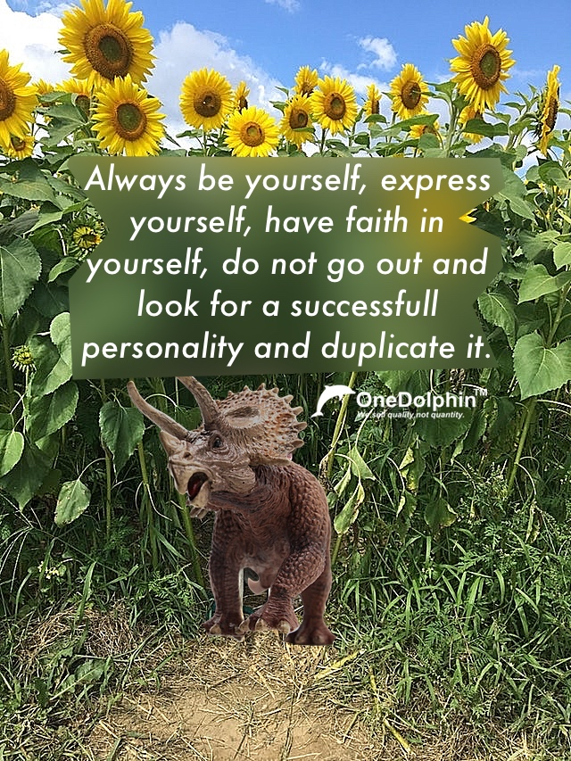 Triceratops: do not go out and look for a successfull personality and duplicate it.