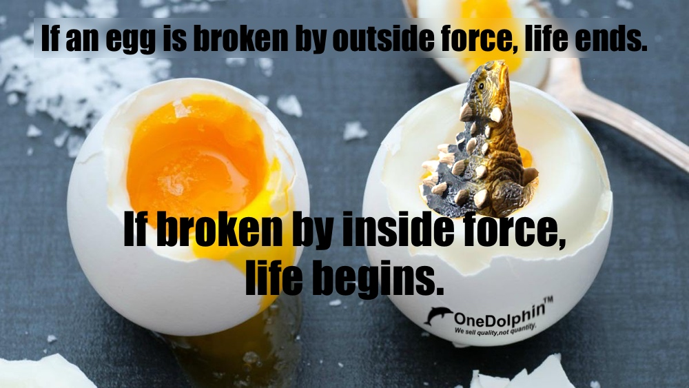 Ankylosaurus: if an egg is broken by inside force,  life begins.