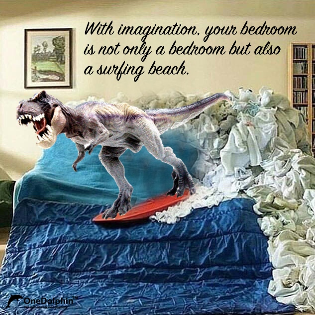 With imagination, your bedroom is not only a bedroom but also a surfing beach.