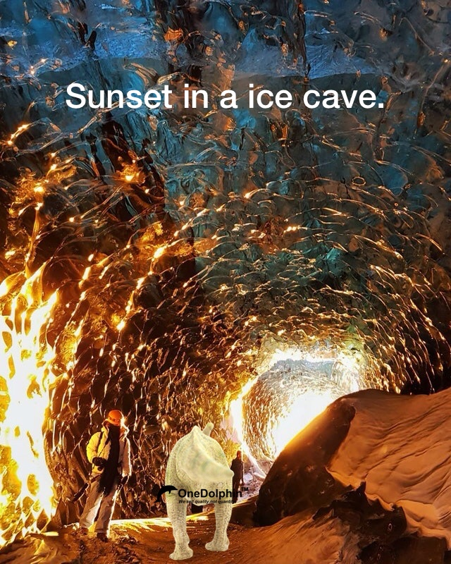 Parasaurolophus: sunset in a ice cave.
